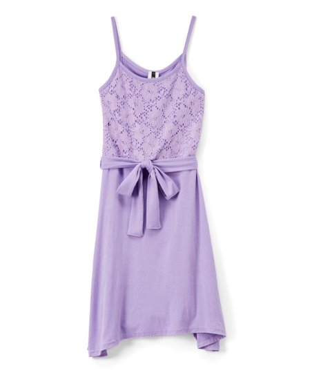 cef8ce4ba love this product Lilac Tie-Waist Lace-Overlay Sleeveless Dress - Girls