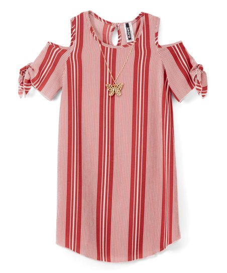 a78429eb9bf love this product Dark Rose   White Stripe Cold-Shoulder Dress - Girls