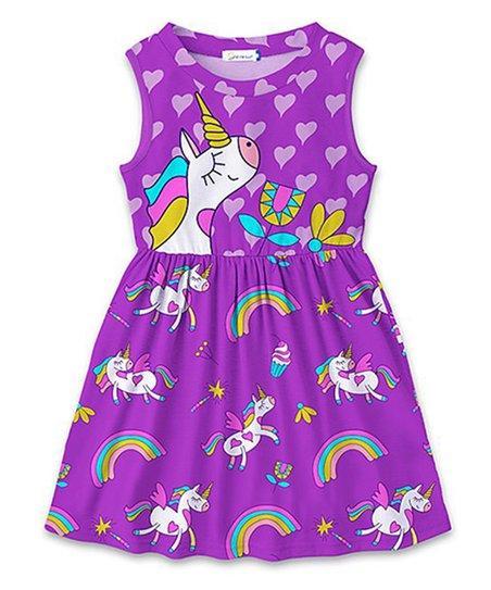 2520396e23ca Sunshine Swing Purple Unicorn Rainbow A-Line Dress - Toddler & Girls ...