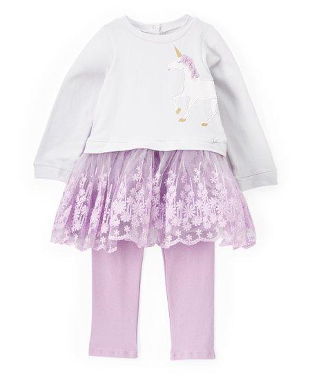688b9ab6dbd8b love this product White & Purple Unicorn Dress & Leggings - Infant, Toddler  & Girls