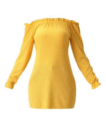 090e9d97adc90f love this product Yellow Off-Shoulder Sheath Dress