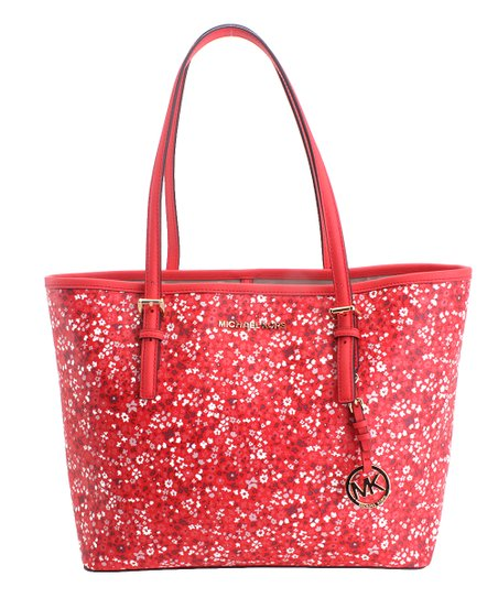 3f386c664be6 Michael Kors Dark Sangria Mini Floral Leather Tote | Zulily