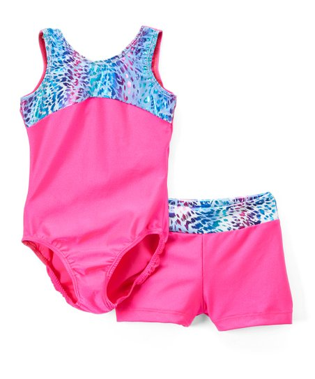 5e6f71a63 Reflectionz Fuchsia   Turquoise Cheetah Leotard   Shorts - Toddler ...
