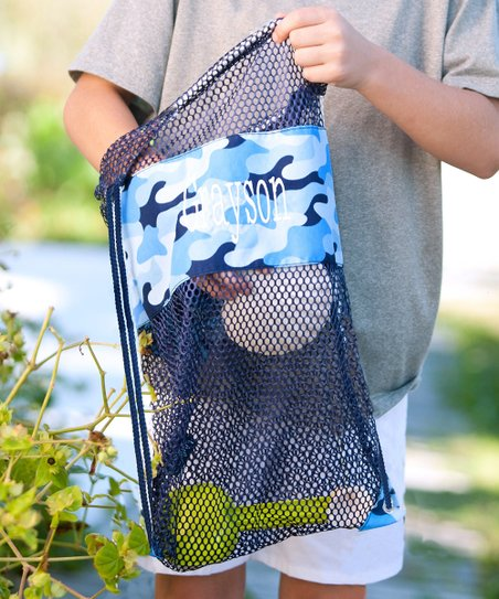 a312d65a6 Designs by Two Greek Sisters Blue Camo Personalized Mesh Backpack ...