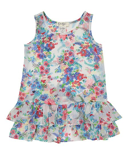 cb383db39a Jessica Simpson Collection Blue & White Floral Ruffle-Hem Cover-Up ...
