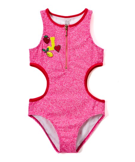 Juicy Couture Pink 'J' Zip-Accent Cutout One-Piece - Girls