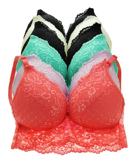 8a973824da Angelina Watermelon Lace Wireless Full-Coverage Bra Set