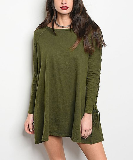 Forever Lily Olive Tie-Sleeve Shift Dress