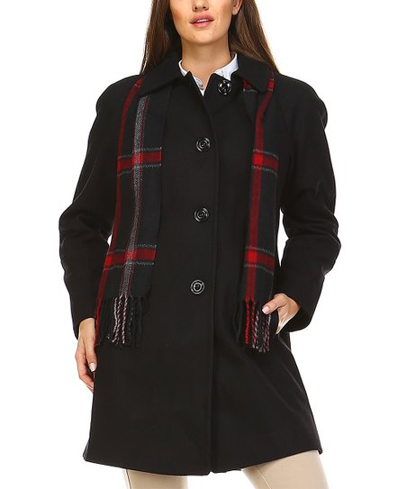 Love This Product Black Wool Blend On Up Coat Scarf Women
