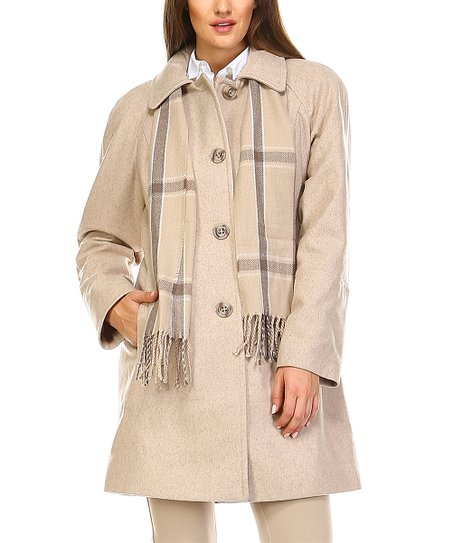 Love This Product Oatmeal Heather Wool Blend On Up Coat Scarf Women