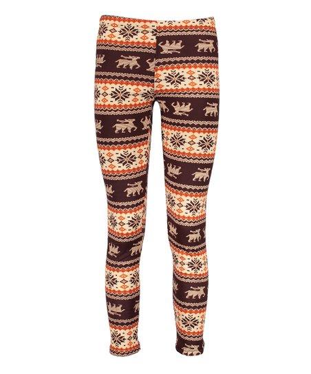 Docele Rust Fair Isle Fleece Leggings - Women | zulily