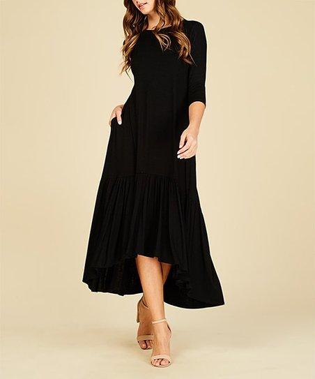 dbbd0e6f40ac5 Annabelle USA Black Ruffle-Hem Hi-Low Midi Dress - Women | Zulily