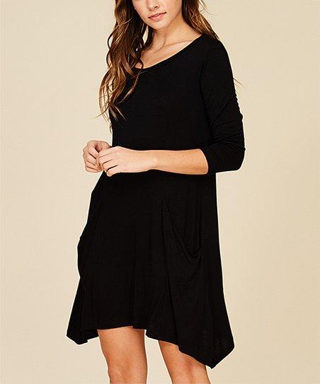 249ad01f57d3c love this product Black Asymmetric-Hem Long-Sleeve Shift Dress - Women