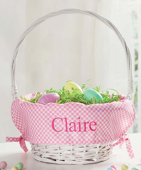 Love This Product White Pink Lined Personalized Wicker Easter Basket