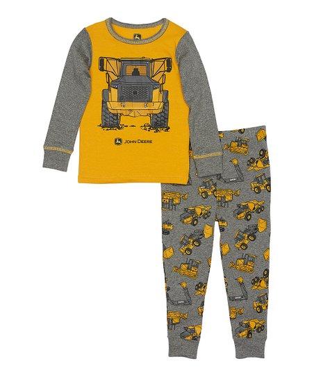 56e5dd5160ac John Deere Yellow   Gray Construction Pajama Set - Kids