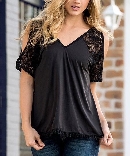 6439465a06 love this product Black Lace V-Neck Shoulder-Cutout Top - Women