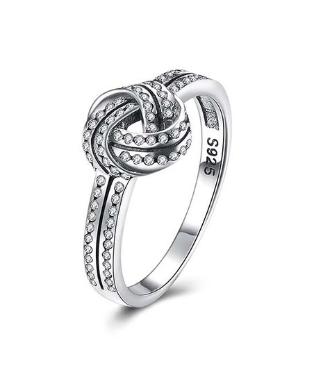 5a673e48a9161 Argento Silver Sterling Silver Love Knot Ring With Swarovski® Crystals
