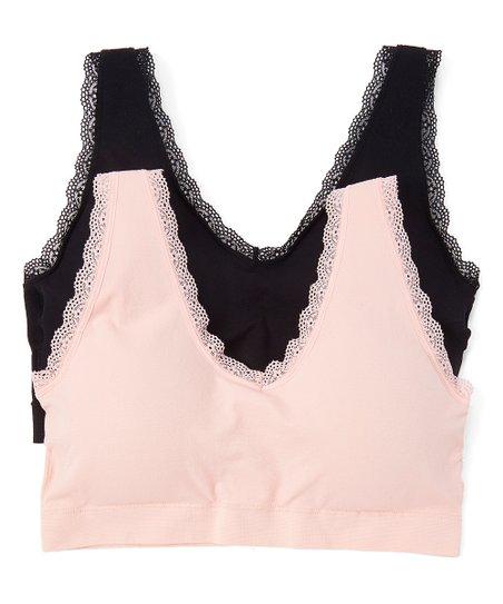 d83bab3115 Delta Burke Intimates Blush Pink   Black Lace-Trim Wireless Bra Set ...