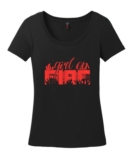 118f8418c love this product Black & Red 'Girl on Fire' Scoop Neck Tee