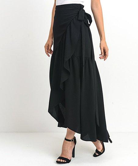 066b5bf34e love this product Black Tie-Waist Wrap Maxi Skirt