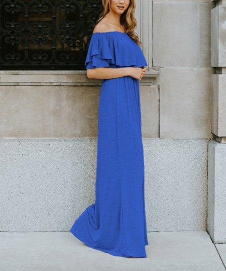 29e09cd08a love this product Royal Blue Off-Shoulder Maxi Dress