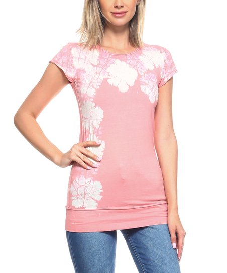 426b90f3a37 love this product Pale Rose Abstract Cap-Sleeve Tunic - Women