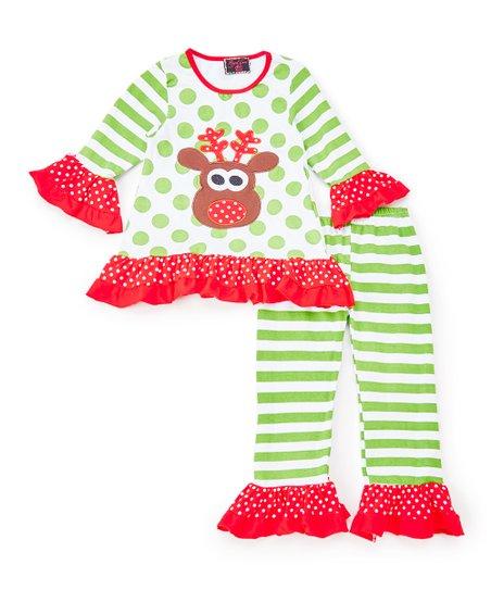 d807da3e4b561 Royal Gem Green Reindeer Ruffle Tunic & Leggings - Girls | Zulily