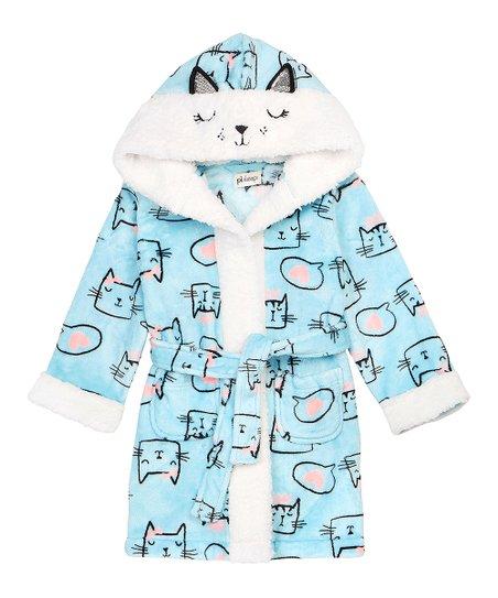b765195707 love this product Light Blue   White Cat Hooded Robe - Toddler   Girls