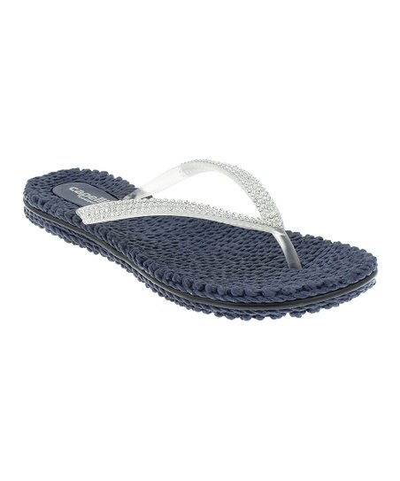 7234af0f0 Capelli New York Navy Rhinestone-Trim Jelly Flip-Flop - Women