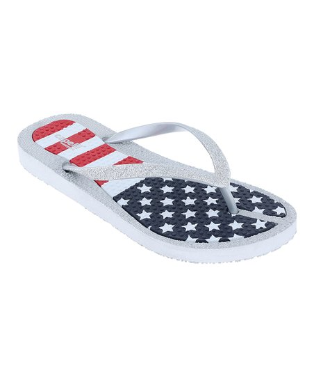5dfa530f0 Capelli New York Silver American Flag Flip-Flop - Women