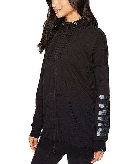 c1f994634349 PUMA Black Fusion Elongated Full-Zip Hoodie