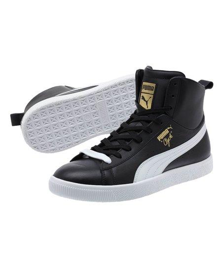 e9e7fdc2833 PUMA Black   White Clyde Mid Core Foil Leather Hi-Top Sneaker