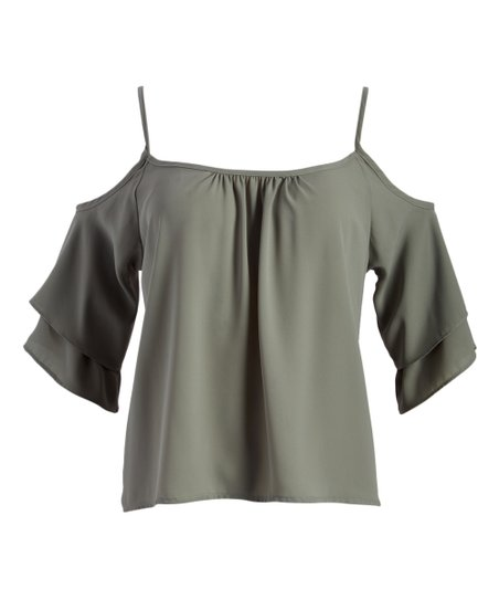 ec0086bd586bc9 Absolute Angel Sage Strappy Cold-Shoulder Top - Juniors | Zulily