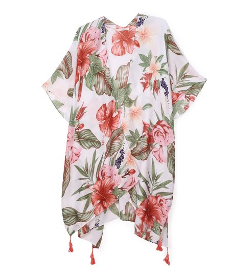 90cd047a1d Do Everything In Love White & Red Floral Kimono   Zulily