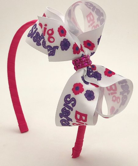 love this product Shocking Pink   Purple  Big Sister  Rhinestone Bow  Headband 37dfc79c2ab