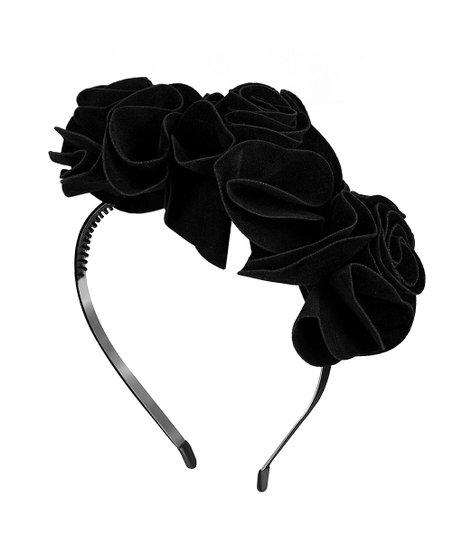 Zelda Matilda Black Nancy Roses Faux Suede Headband  d288829d2f9