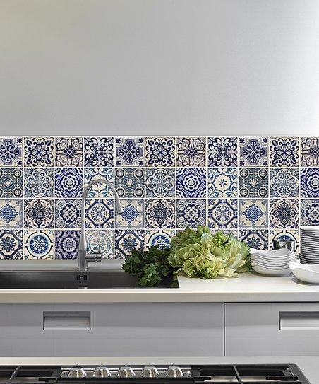 Walplus Spanish Blue Mosaic Tile Sheet Set Of Eight Zulily