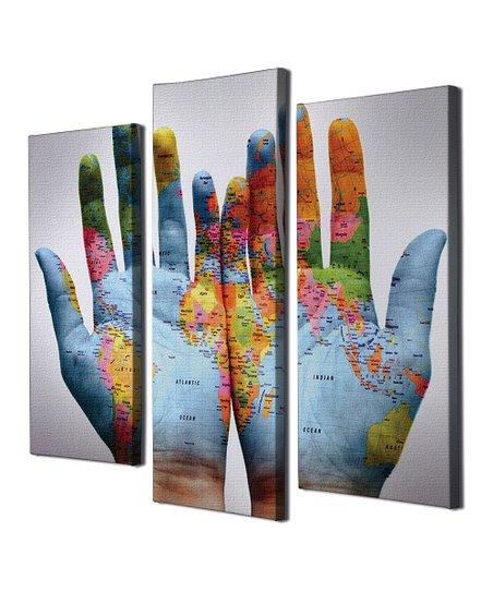 World Map On Hands.Wallity World Map Hands Three Panel Canvas Wall Art Set Zulily