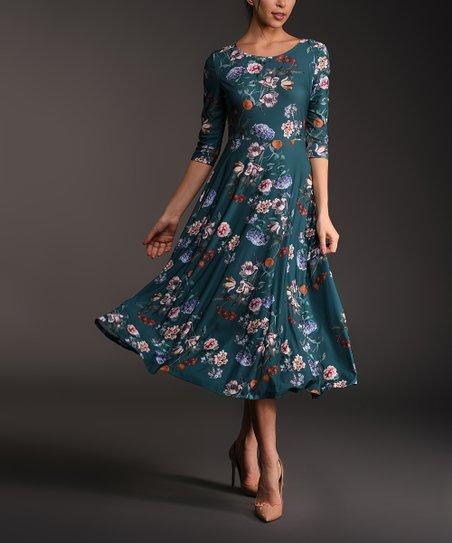 018effac170 Lbisse Dark Teal Floral Three-Quarter Sleeve Midi Dress - Women ...