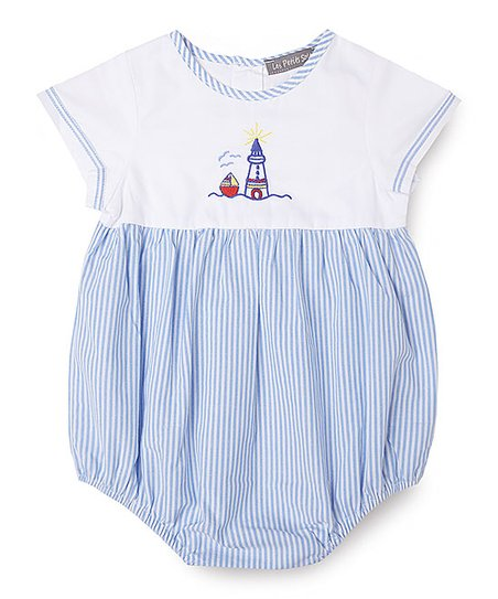 816e54cb51c love this product White   Blue Stripe Lighthouse Embroidered Bubble Romper  - Infant