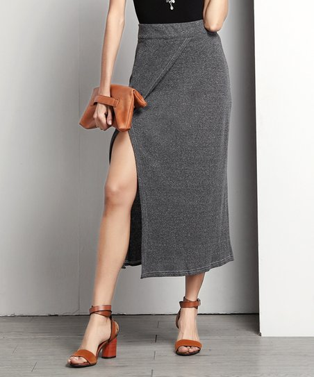 05c7a9bd3431 Reborn Collection Charcoal Ribbed Side-Slit Midi Skirt - Women | Zulily