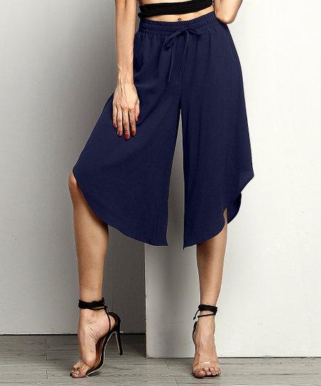 b5ea63f69fcf Reborn Collection Navy Chiffon Tie-Waist Envelope Hem Pants - Women ...