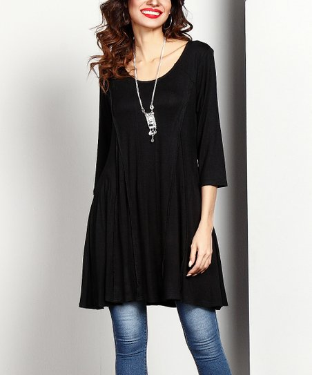 edb605160c3 Reborn Collection Black Swing Tunic | Zulily