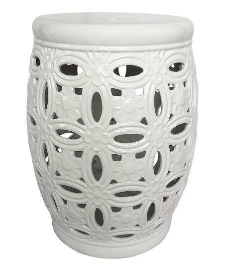 Admirable Sagebrook Home White Pierced Ceramic Garden Stool Caraccident5 Cool Chair Designs And Ideas Caraccident5Info