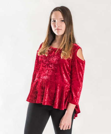 262ad07566a240 love this product Red Crushed Velvet Cold Shoulder Hi-Low Top - Girls  Plus