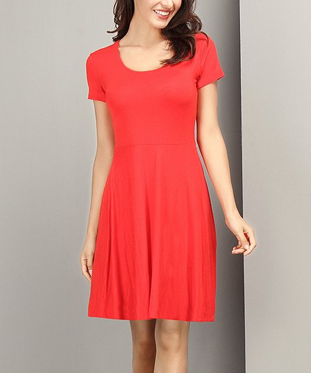 4148c4a8182 Reborn Collection Red Short-Sleeve Fit   Flare Dress - Women