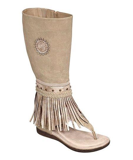 fd5ce00524 Pierre Dumas Nude Fringe Boot-Style Kesey Sandal - Women