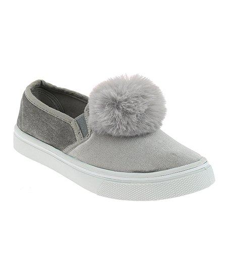 87e19c15669 Capelli New York Gray Pom-Pom Velvet Slip-On Sneaker - Girls