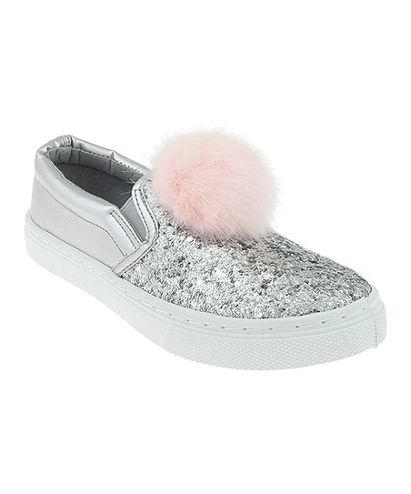 d7cdc960f71f love this product Silver & Pink Pom-Pom Glitter Slip-On Sneaker - Girls