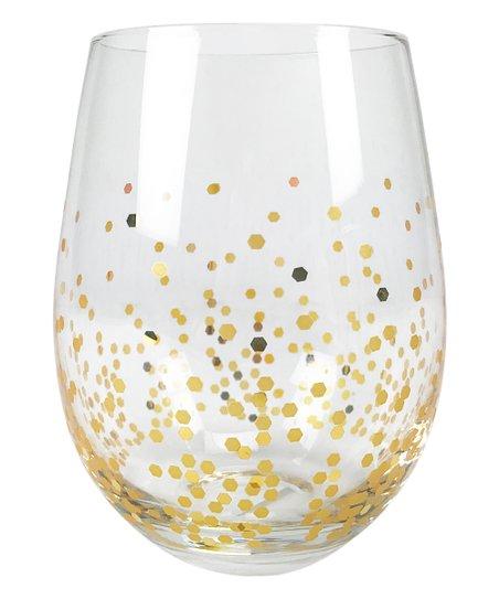 22fe5ed0e5e Circleware Gold Confetti Stemless Wineglass - Set of Four | Zulily